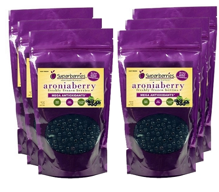 6 Pk USDA Certified Fresh-Frozen Organic Aroniaberries (Chokeberry), 32 Oz. Package