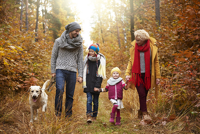 Family enjoying fall