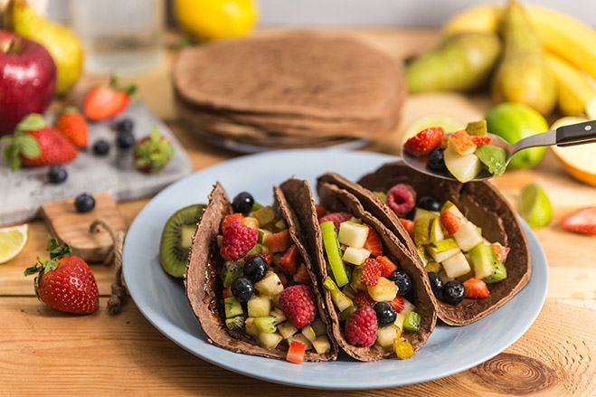 Chocolate Fruit Taco with Aroniaberries