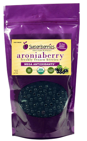 USDA Certified Organic Fresh-Frozen Aroniaberries (Chokeberry), 32 Oz. Package