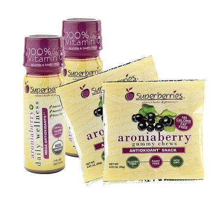 Superberries Snack Pack - 2 Aroniaberry+ Shots & (2) 100 Calorie Packs of Aroniaberry Gummy Chews
